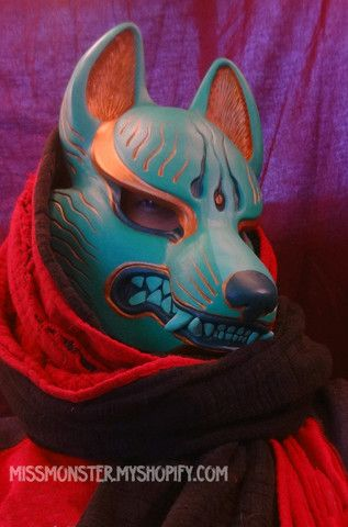 PAINTED KITSUNE MASK- 2ND EDITION - missmonster.  I love her masks and sculpture. They are amazing.