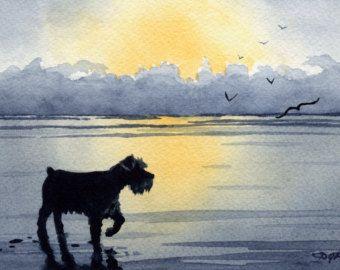 MINIATURE SCHNAUZER chien aquarelle Art Print par k9artgallery