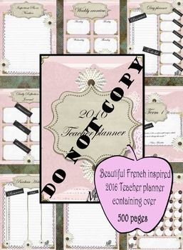 This beautiful French inspired 2016 Teacher Planner is a great way to start the year. With over 500 pages of planning material all laid out week by week, term by term. You will be all sorted for the year to come.This download includes:- Beautiful French inspired front cover- Binder dividers for each term with inspirational quotes on each- Individual monthly overviews for all 12 months- Weekly overview complete with 5 days working days- Year planner with all 12 months for easy viewing and…