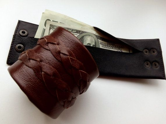 Leather Wrist Cuff Travel Wrist wallet Men Leather by Homespirits