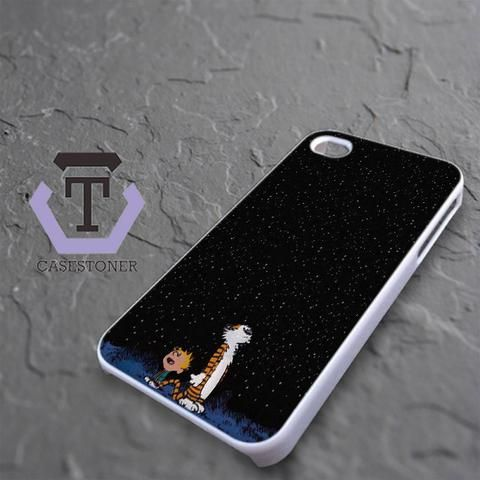 Calvin And Hobes Night Sky iPhone 4|iPhone 4S Black Case