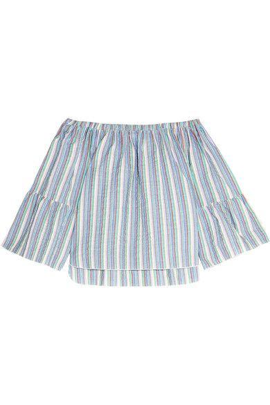 See by Chloé - Off-the-shoulder Crinkled Striped Cotton-blend Top - Blue - FR