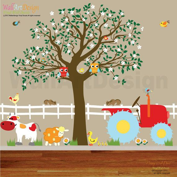 Vinyl Wall Decals Farm Set Tree with Barn,tractor,fence,horse,cow,pig,lamb,ducks,nursery playroom wall sticker mural via Etsy