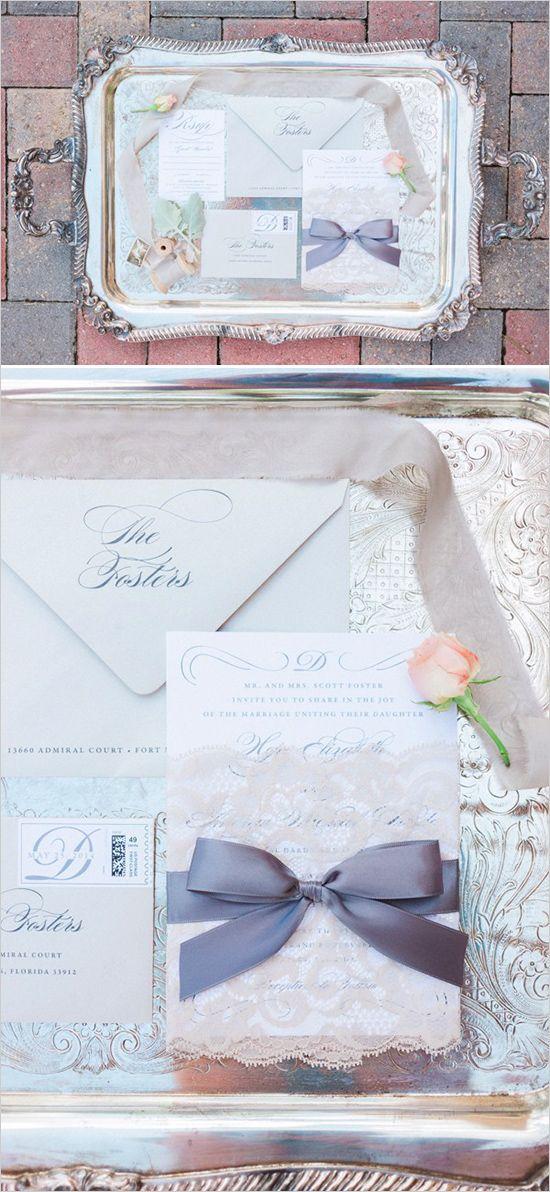 LACE WRAPPED INVITE Vintage Romance Wedding with so many neat ideas!! #weddingchicks Captured By: Hunter Ryan Photo http://www.weddingchicks.com/2014/08/22/elegant-vintage-romance-wedding/