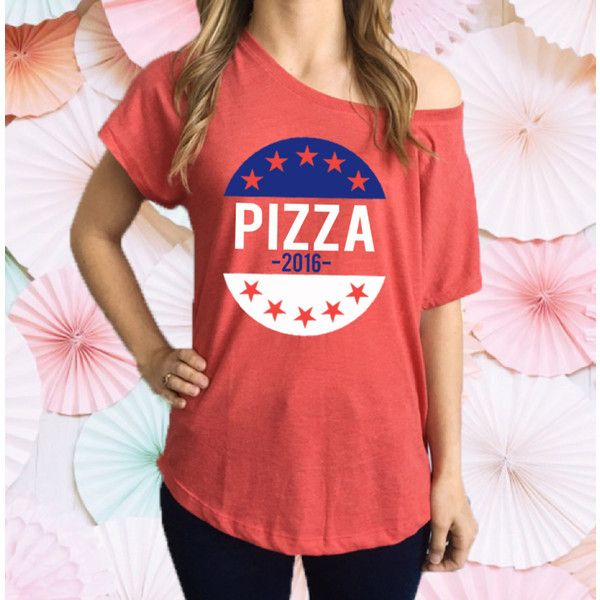 Vote Pizza Slouchy Tee Shirt Presidential Elections Shirt Elections... ($22) ❤ liked on Polyvore featuring tops, t-shirts, activewear, red, women's clothing, off the shoulder tops, off shoulder shirt, t shirt, off shoulder tee and red tee