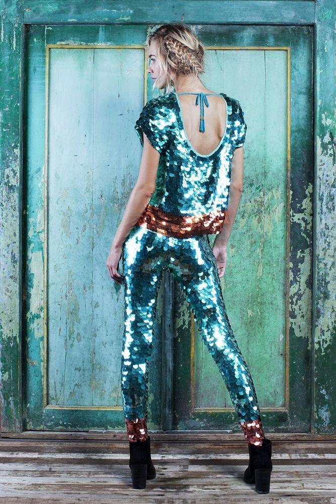 Image of PARADISO Collection | INDUS Sequin Leggings | verdigris