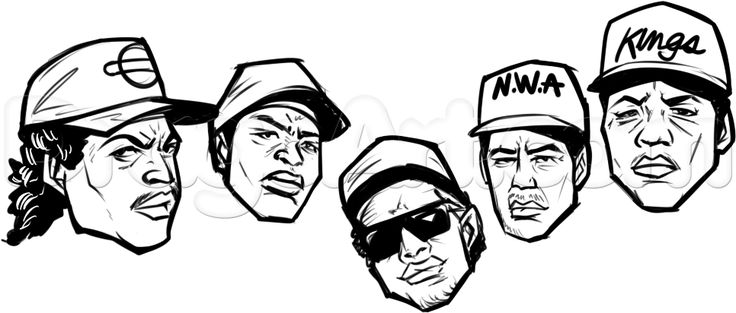 straight outta compton, nwa, drawing tutorial step 6