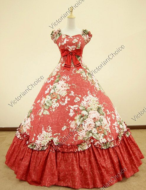 Southern Belle Civil War Cotton Floral Print Gown Dress Reenactment.  Eat your heart out, Scarlet!