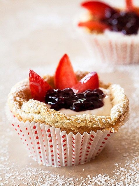 Mini German Pancakes with Greek Yogurt, Berries & Stone Fruit. YUM!