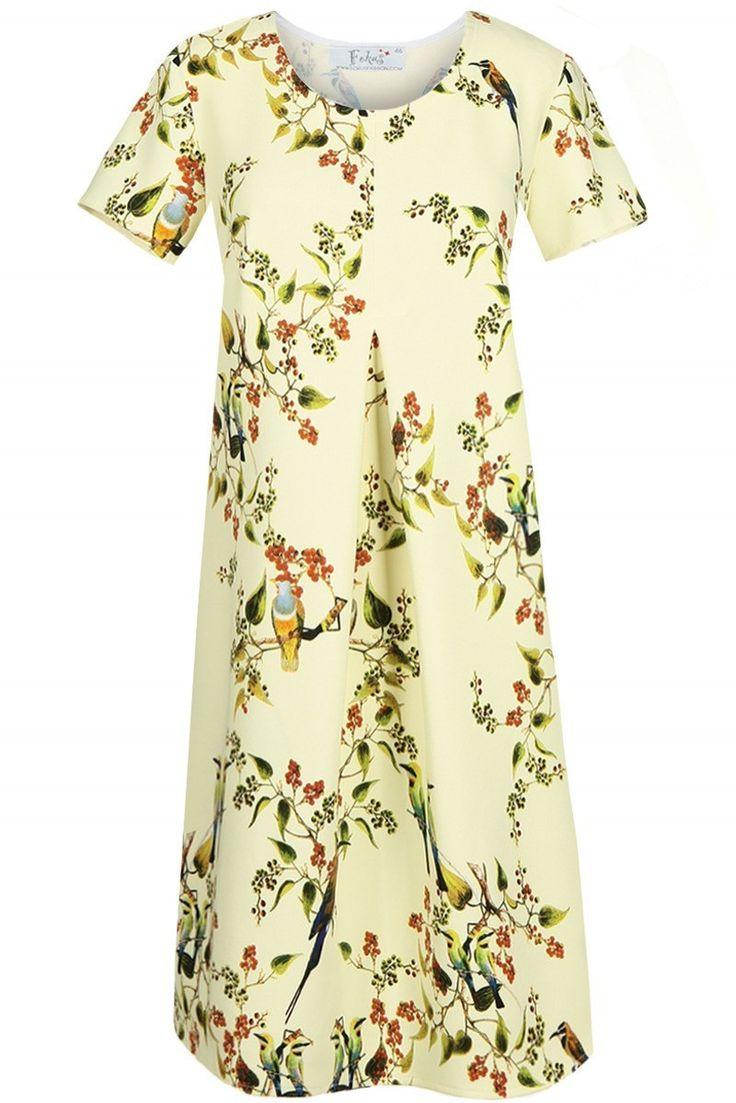 Sukienka dzienna Żółty. Prosta, luźna sukienka, pozwoli zatuszować niedoskonałości sylwetki. Uszyta z wzorzystej tkaniny z pięknym motywem. #modadamska #sukienkiletnie #sukienka #suknia #sklepinternetowy #allettante