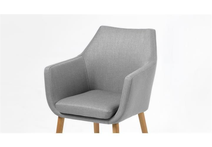 stuhl nora esszimmer armlehnenstuhl sessel in vintage stoff hellgrau beine eiche st hle. Black Bedroom Furniture Sets. Home Design Ideas