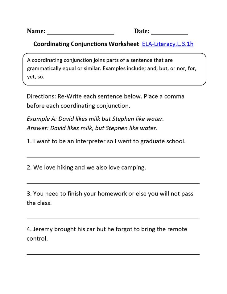 Coordinating Conjunctions Worksheet 1 (L.3.1) | L.3.1 ...