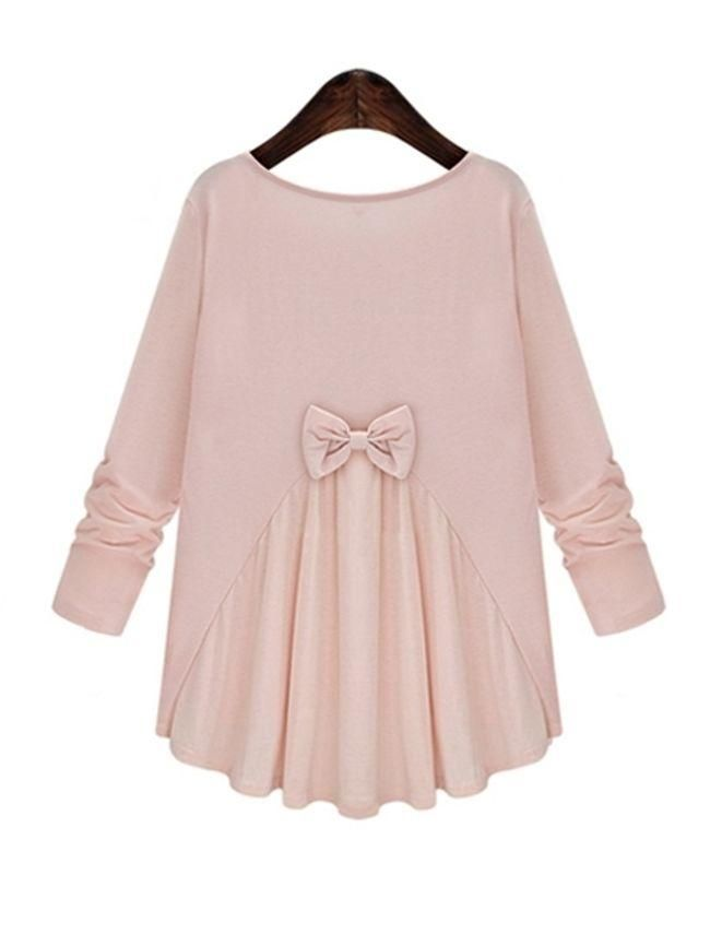 Back Bowknot Sweet Patchwork Long-sleeve-t-shirt