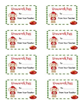 Free! Holiday Homework Passes and Gift Tags!