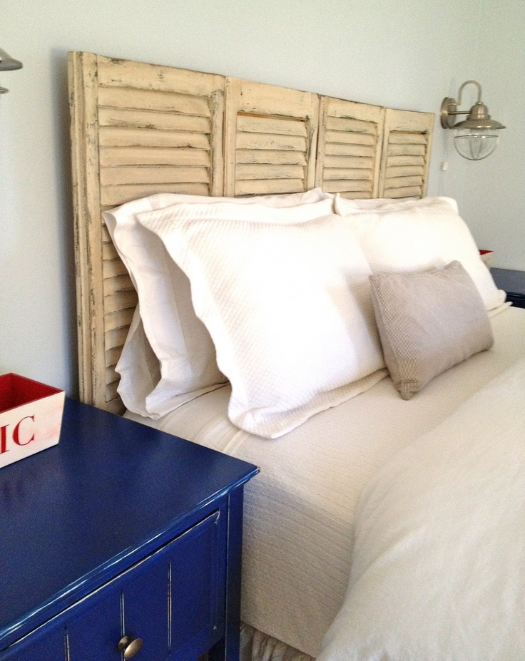 Shutter Headboard tutorial -- for the guest room headboard once we take them out of the master bedroom window