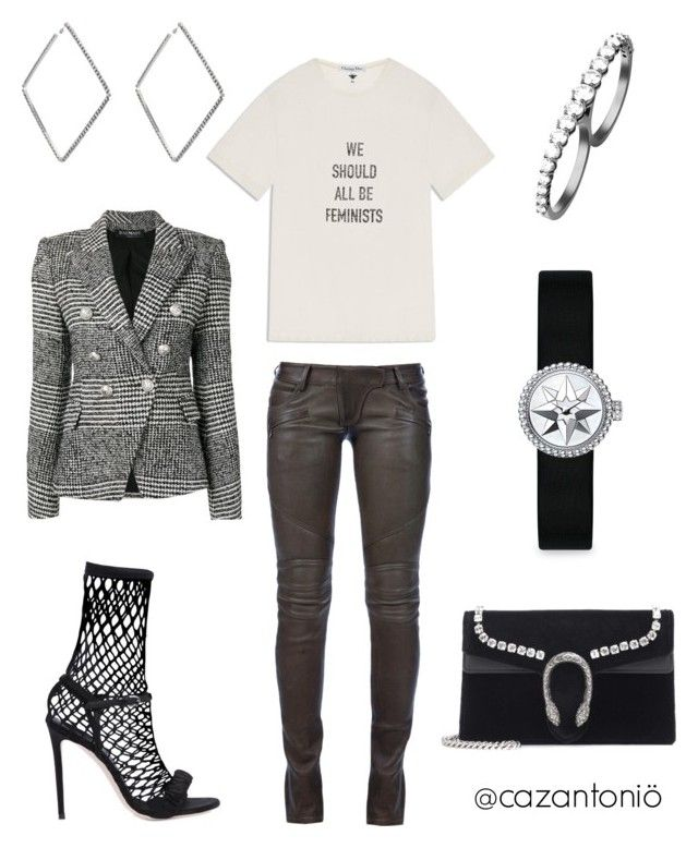 """""""Time's Up"""" by cazantonio ❤ liked on Polyvore featuring Balmain, Marco de Vincenzo, area, Gucci and Christian Dior"""