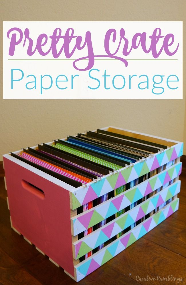 Turn a simple wood crate into 8.5 x 11 scrapbook paper storage using hanging files and a little paint. #papercrafting