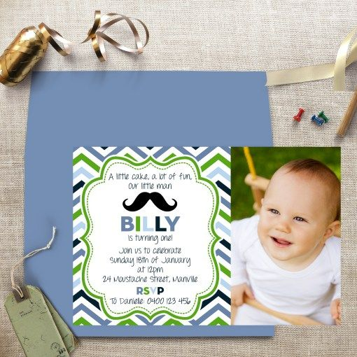 Chevron Little Man Photo Digital Invitation | Print & Party  #printedinvitation #digitaldownload #download #digitalinvitation #invitation #party #birthday #birthdayparty #printandparty #printables #invitations #stationery #australia #brisbane #chevron #mustache #moustache #blue #green #photo #littleman #man #boy