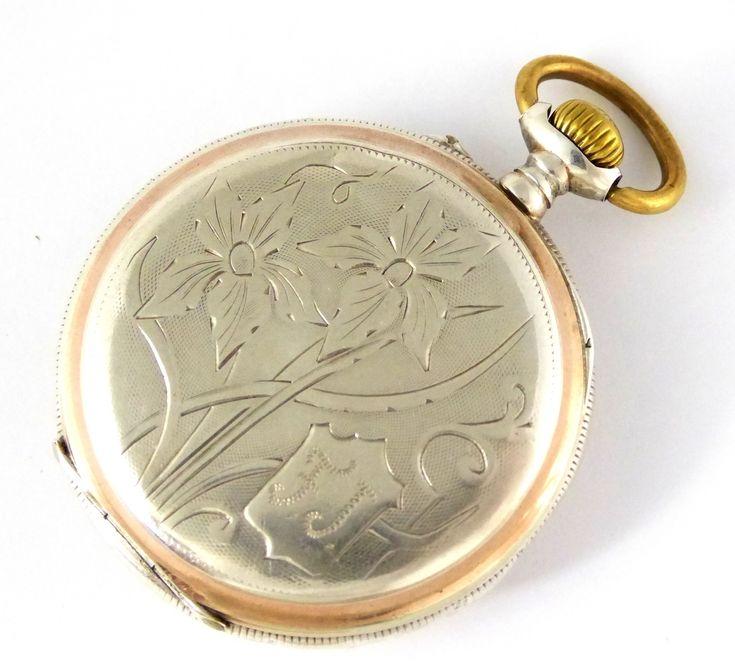 Beautiful Art Nouveau Antique 1900s German .800 Silver and Gold Pocket Watch FJ - The Collectors Bag