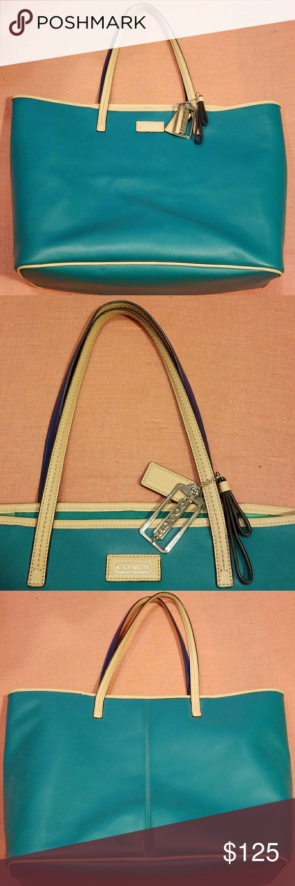 COACH TOTE BAG Like new, Coach Tote, Green color with tan & blue handles, excellent, excellent condition, see all pics. Coach Bags Totes