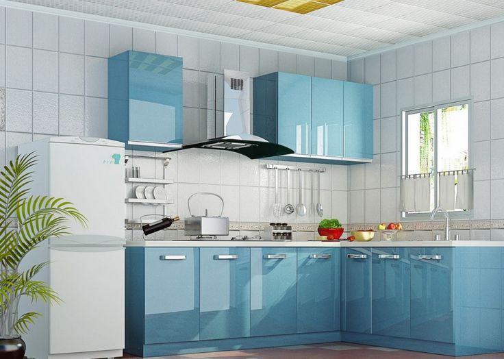 2015 Ucuz Mavi Mutfak Modelleri