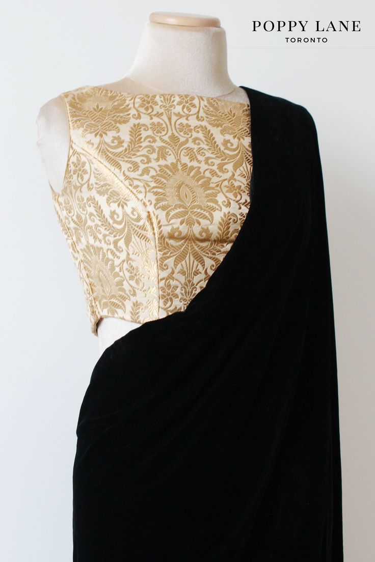 Royal Brocade Ivory Sari/Lengha Crop Top Blouse. Shop now at poppylane.ca