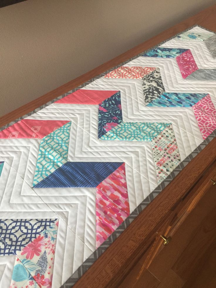 A personal favorite from my Etsy shop https://www.etsy.com/listing/489720040/modern-chevron-quilted-table-runner