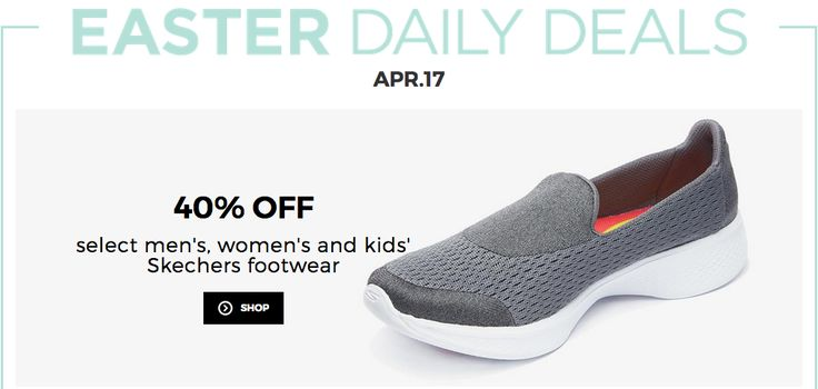 Sears Canada Easter Daily Deals: Save 40% Off Skechers Footwear  Buy One Get One FREE on Kids Clothes! http://www.lavahotdeals.com/ca/cheap/sears-canada-easter-daily-deals-save-40-skechers/191181?utm_source=pinterest&utm_medium=rss&utm_campaign=at_lavahotdeals
