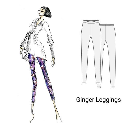 Ginger Leggings, sizes 18-26, sewing pattern for women, pdf sewing pattern, sewing pattern, women's sewing pattern, leggings pattern, sewing