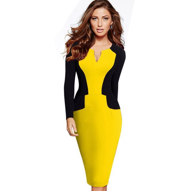 Nice-forever Winter Patchwork Mature Stylish Casual Work Full Sleeve Small V-Neck Bodycon Women Office Pencil Slim Dress B342