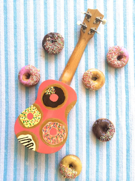 Hand-painted Donut Ukulele by ToadstoolTables on Etsy