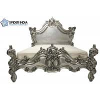 German silver and pure chandi inlay teak wood carved poster  bed, / silver bed / german silver bed / silver cladding bed / inlay bed / white metal  How to get VIG Furniture Rococo - Italian Classic Black-Silver Bedroom Set  National Furniture Supply's VIG Furniture Collection. This Italian Classic design combines traditional and modern design elements to create an extraordinary bedroom suite. The headboard and footboard house black leatherette crystal-tufted panels inset in an ornate molded…