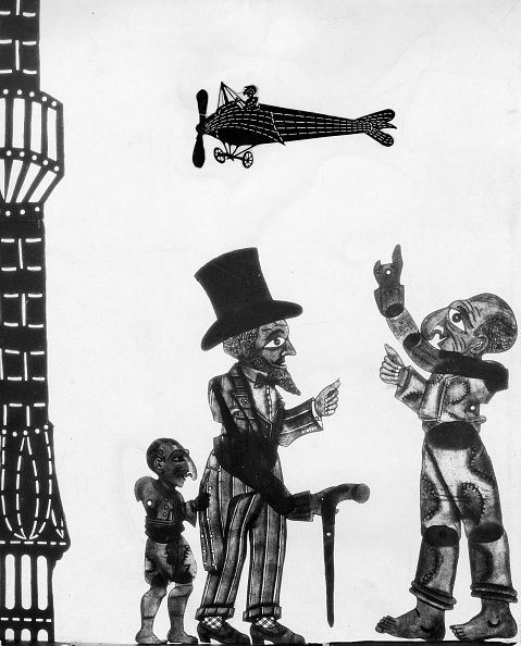 Greek shadow-puppet theatre 'Karagiozis', Characters: Kolitiris, n.n. and Karagiozis in a scene (from left), Photographer Walter Hege, 1934