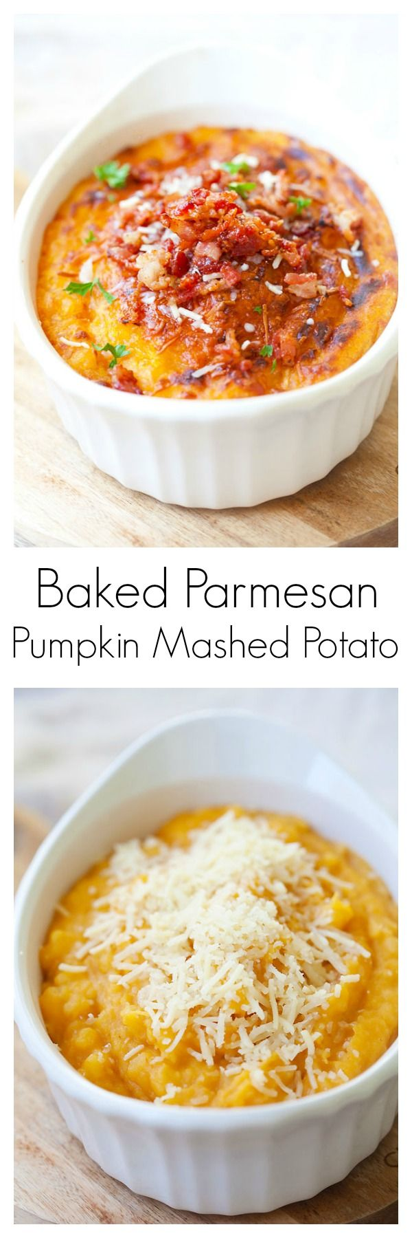 Baked parmesan pumkin mashed potatoes – supper yummy pumpkin mashed potatoes loaded with parmesan cheese. Rich, creamy, sweet, cheesy and so easy | rasamalaysia.com