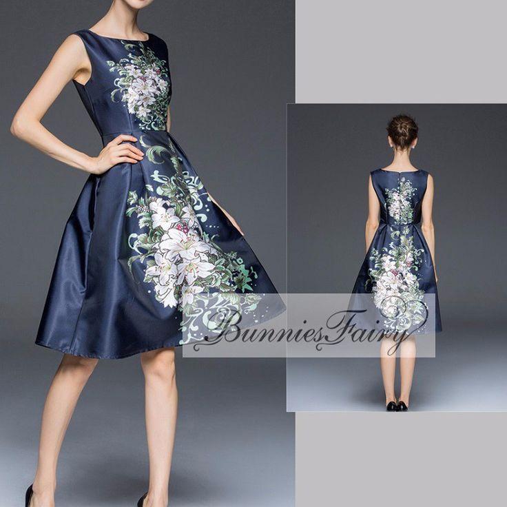 Elegant Vintage Retro Floral Midi Party Dresses