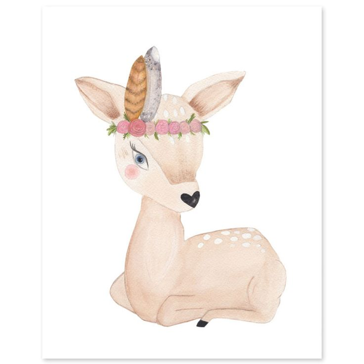 Your woodland baby girl nursery needs this sweet Bambi like art print don't you think?
