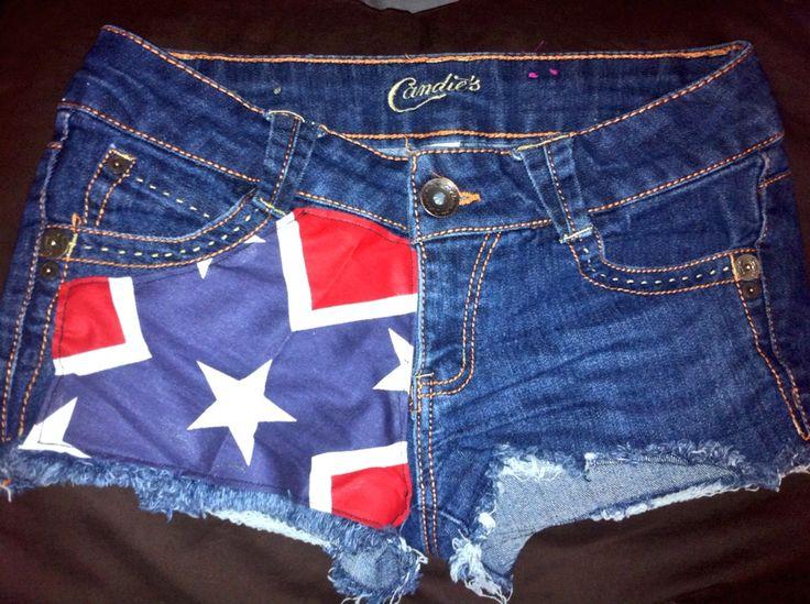 DIY Rebel Flag cut off shorts .