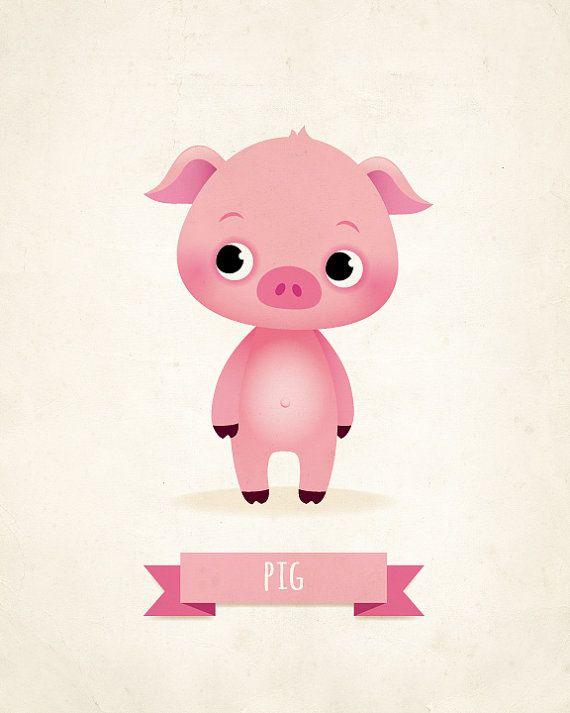 Lámina de cerdo vivero Ilustración para niños por IreneGoughPrints