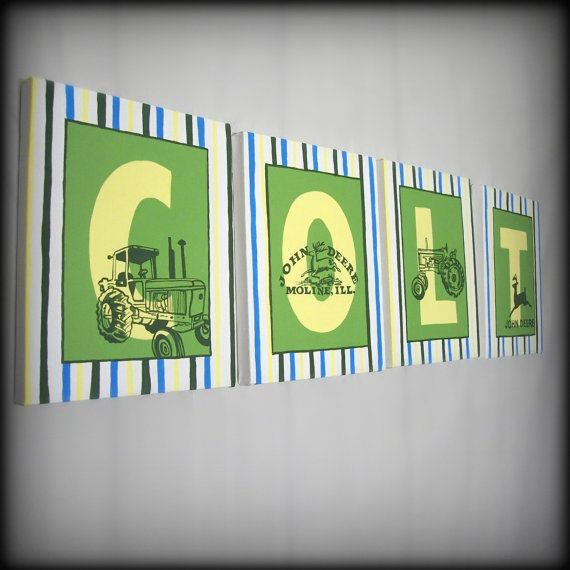 Love the tractors: Crafts Ideas, Good Ideas, Tractors, John Deere, John Deer Kids Rooms, Baby Rooms, Little Boys Rooms, Baby Boy, Names Wall Art