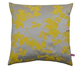 Zijden kussen Virginia, taupe/geel, 40 x 40 cm