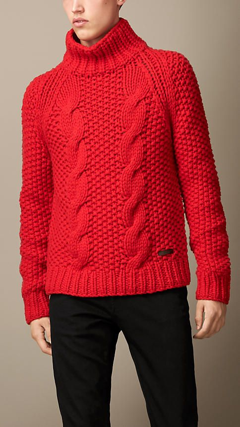 Burberry Brit Alpaca Blend Cable Knit Sweater