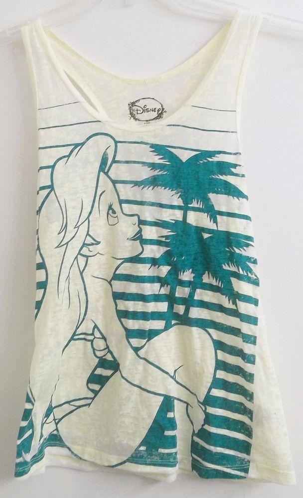 Disney's Ariel The Little Mermaid Shirt Girl's Junior S Small Burn Out Fabric #Disney