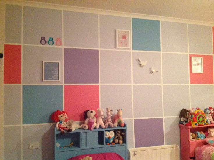 Bedroom feature wall in my girls room pink purple blue and mauve squares things i 39 ve made - Feature bedroom wall ideas ...
