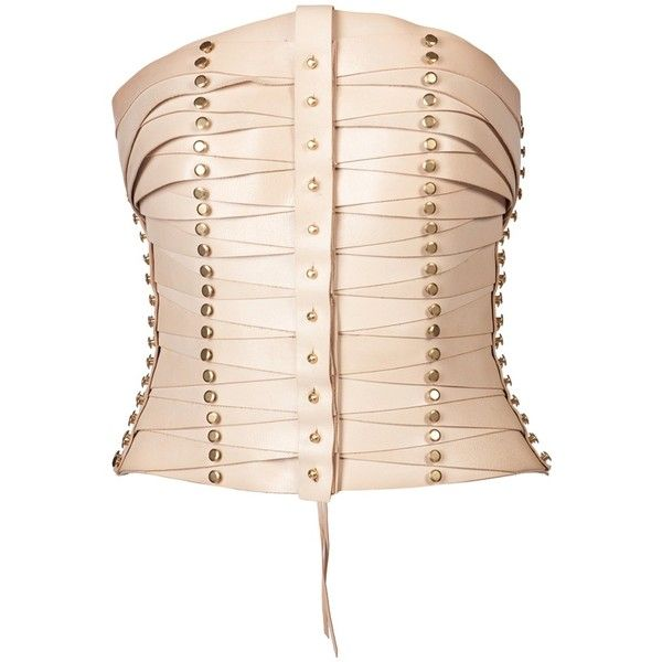 ?NA BURKE Calfskin corset (2.345 RON) found on Polyvore featuring women's fashion, tops, corsets, belts, shirts, accessories and women