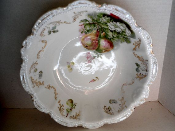 Large White Serving Bowl with Hand Painted Pear Design Scalloped Edge  PM Bavaria c.1904-1910 Home and Living Kitchen and Dining Serving