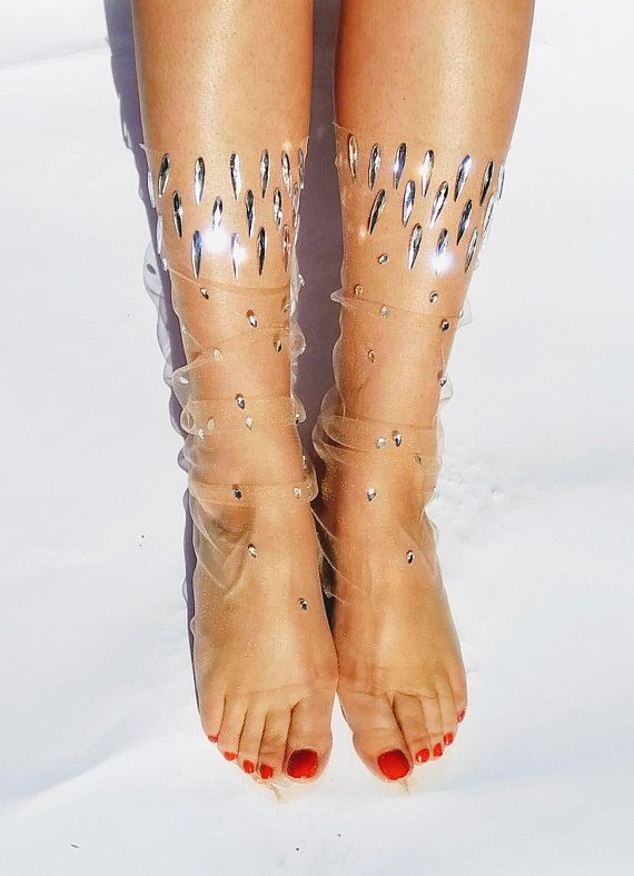 Sheer Party Socks Mother/'s Day Gift. Tulle Socks with Gold Sequins