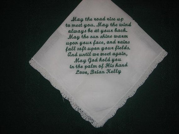 Personalised Wedding Gift Irish blessing handkerchief 153S with gift ...