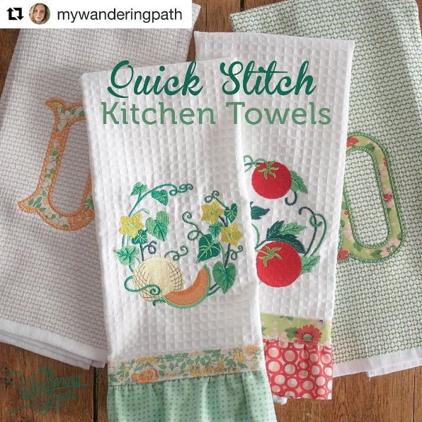 Towels by Anna; Vegetable Wreath designs by Embroidery Library.