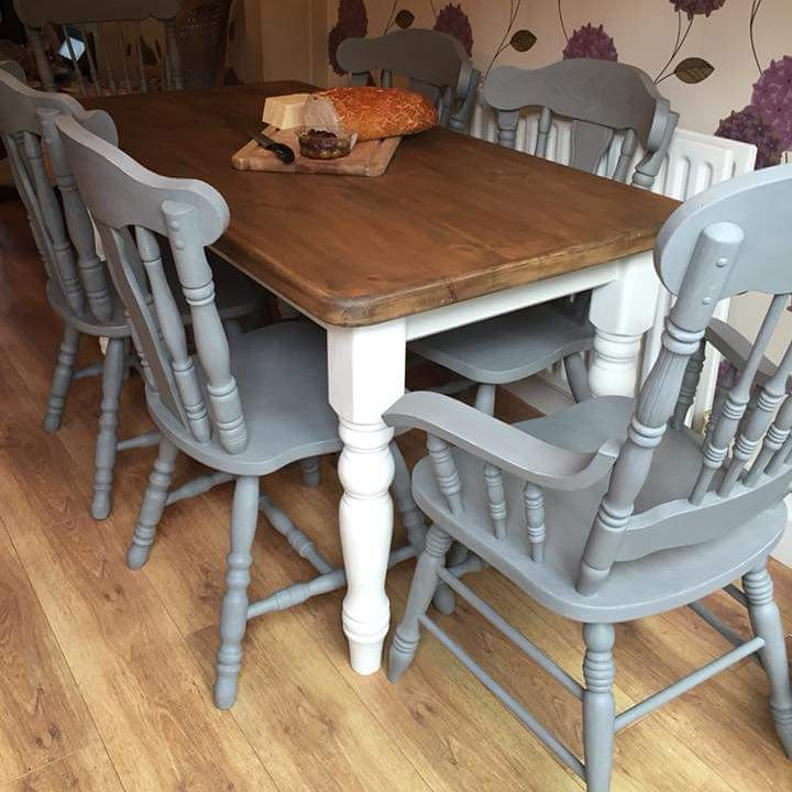 Gorgeous Work On A Farmhouse Table And Chairs By Suecass127 Using Vintrochalkpaint Cloudburst On The Cha Furniture Decorating Your Home Rustic Dining Table