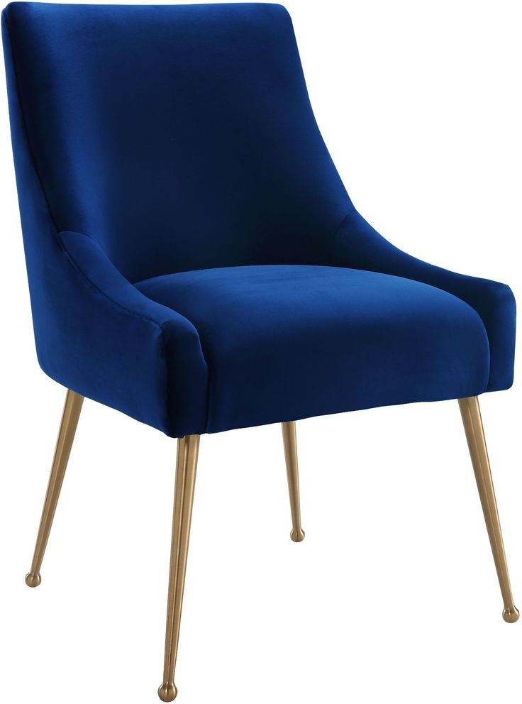 Sit pretty in this sumptuous yet durable velvet chair. The Beatrix dazzles as a dining chair or as an accent piece. Available in green, Gray or Navy with fab gold stainless steel legs and a matching handle on the back. Prop it into any room for a luxe, glamor effect.